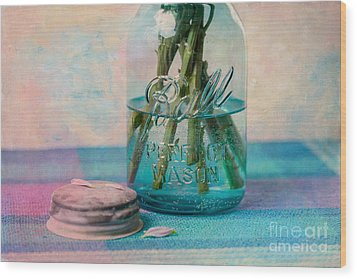 Mason Jar Vase Wood Print by Kay Pickens