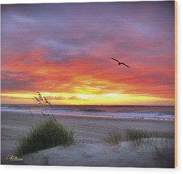 Masonboro Inlet Sunrise Wood Print