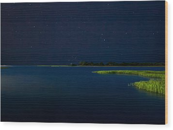 Masonboro Sound At Night Wood Print