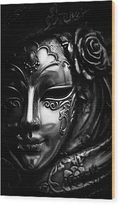 Masquerade In Grey Wood Print