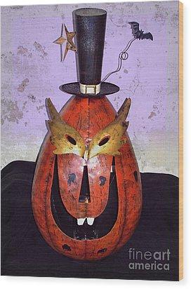Masquerade Mask Pumpkin - Halloween Art Wood Print by Ella Kaye Dickey