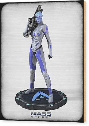Mass Effect - Asari Alliance Soldier Wood Print by Frederico Borges