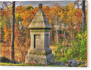 Massachusetts At Gettysburg - 22nd Mass. Volunteer Infantry - In The Rose Woods Wood Print by Michael Mazaika