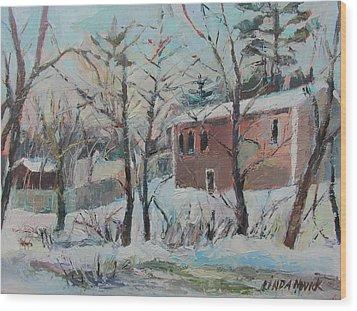 Massachusetts Snowfall Wood Print