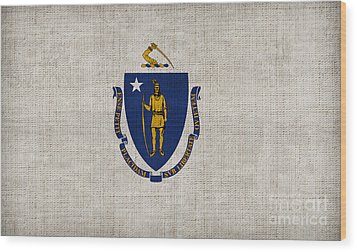 Massachusetts State Flag Wood Print by Pixel Chimp
