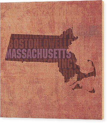 Massachusetts Word Art State Map On Canvas Wood Print by Design Turnpike