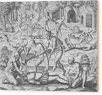 Massacre Of Christian Missionaries Wood Print by Theodore De Bry