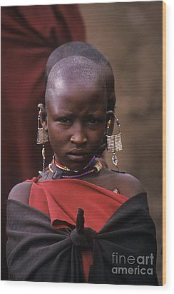 Massai Girl - Tanzania Wood Print by Craig Lovell