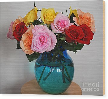 Massed Roses Wood Print