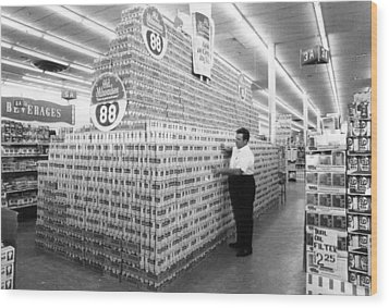 Massive Beer Display Wood Print by Retro Images Archive