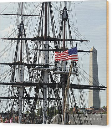 Mast And Flag Wood Print by Cheryl McClure