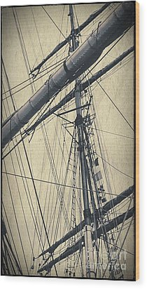 Mast And Rigging Postcard Wood Print
