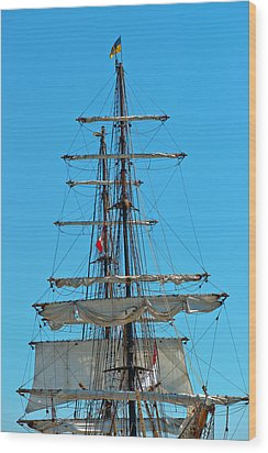 Wood Print featuring the photograph Mast And Ropes by Marek Poplawski