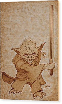 Wood Print featuring the painting Master Yoda Jedi Fight Beer Painting by Georgeta  Blanaru