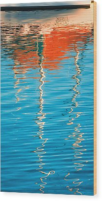 Masts Showing Off Wood Print by Joan Herwig