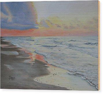 Matagorda Beach Sunrise Wood Print by Jimmie Bartlett