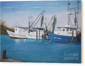 Wood Print featuring the painting Matagorda Boats by Jimmie Bartlett