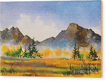 Wood Print featuring the painting Matanuska Autumn by Teresa Ascone