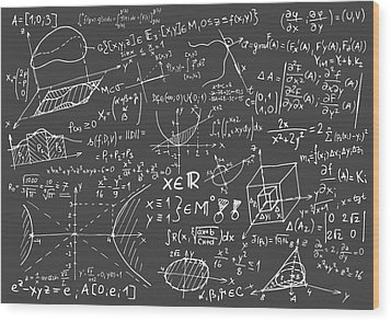 Maths Blackboard Wood Print