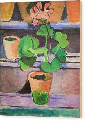 Matisse's Pot Of Geraniums Wood Print