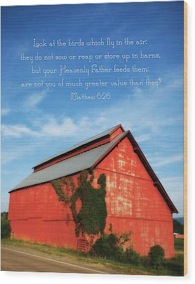 Matthew 6 26 Scripture Red Barn Wood Print by Denise Beverly