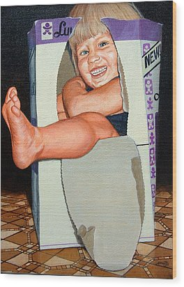 Matthew In A Box Wood Print by AnnaJo Vahle