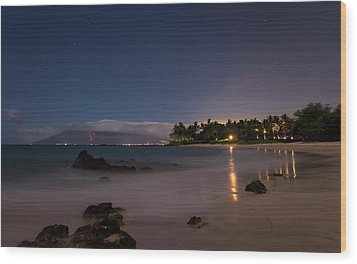 Maui By Night Wood Print by James Roemmling