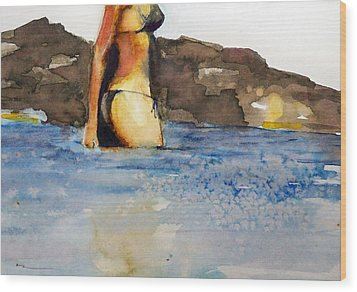 Wood Print featuring the painting Niue by Ed  Heaton