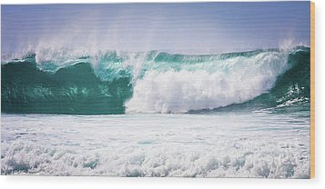 Maui Huge Wave Wood Print by Denis Dore