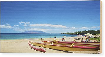 Maui Outriggers Wood Print by Kicka Witte
