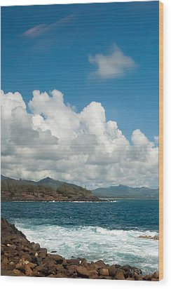Maui Sea And Surf Wood Print by Michael Flood