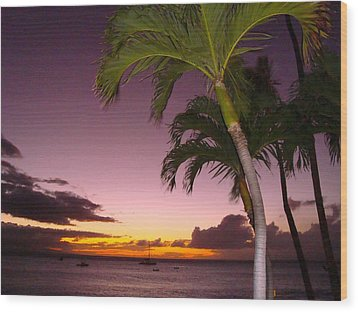 Maui Seascape And Palms Wood Print by Tamara Bettencourt