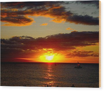 Maui Seascape Wood Print by Tamara Bettencourt