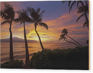 Maui Sunset Wood Print by James Roemmling
