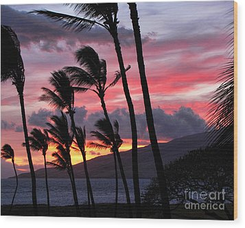 Wood Print featuring the photograph Maui Sunset by Peggy Hughes