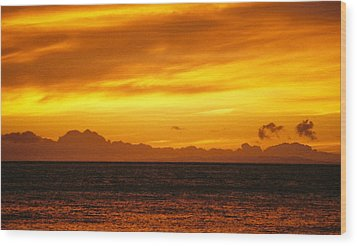 Maui Sunset Sun 125 Wood Print