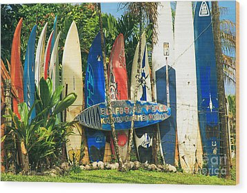 Maui Surfboard Fence - Peahi Hawaii Wood Print