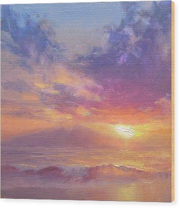 Maui To Molokai Hawaiian Sunset Beach And Ocean Impressionistic Landscape Wood Print by Karen Whitworth