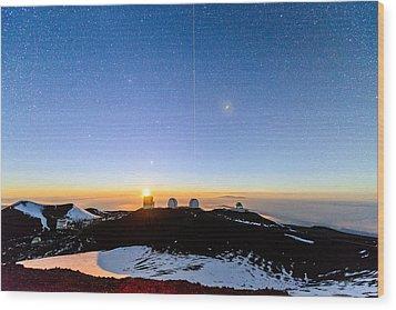 Mauna Kea Moonset 1 Wood Print