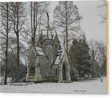 Mausoleum In Winter Wood Print by Kathy Barney