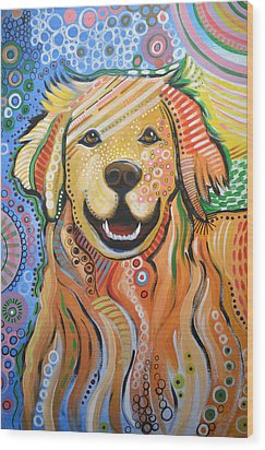 Max ... Abstract Dog Art...golden Retriever Wood Print