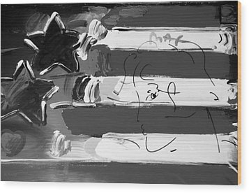 Max Stars And Stripes In Black And White Wood Print by Rob Hans