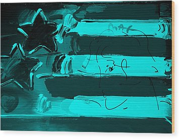 Max Stars And Stripes In Turquois Wood Print by Rob Hans