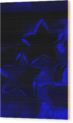 Max Two Stars In Blue Wood Print by Rob Hans