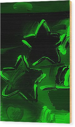 Max Two Stars In Green Wood Print by Rob Hans