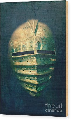 Maximilian Knights Armour Helmet Wood Print by Edward Fielding