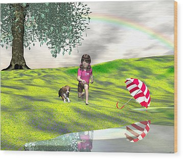 May You Jump In Puddles Wood Print by Michele Wilson