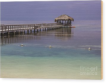 Maya Key Pier At Roatan Wood Print by Suzanne Luft