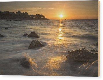 Mayan Coastal Sunrise Wood Print by Adam Romanowicz