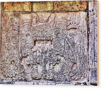 Mayan Hieroglyphic Carving Wood Print by Paul Williams